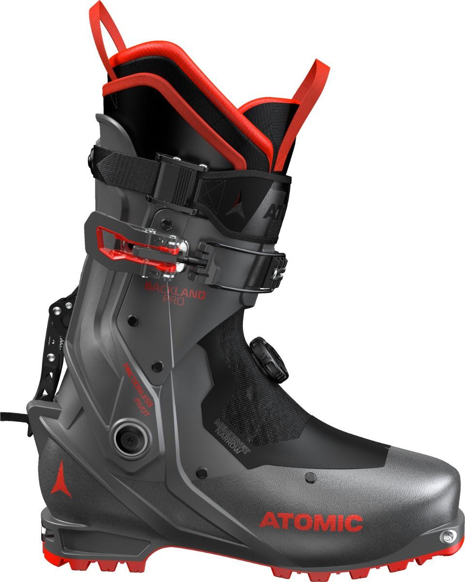 Atomic Backland Pro 2020/2021.  odvetraná vnútorná topánka PLATINUM váha 1 topánky je 1102g spojovací kĺb je navrhnutý tak, aby jeho pohyb bol plynulý podrážka je vyrobená z gumy tak, aby nekĺzala BOA upínacie system