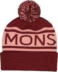 Mons Royale Pom Pom Beanie - wine / dusty pink
