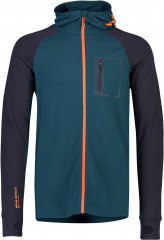 Mons Royale Traverse Midi Full Zip Hood - atlantic / orange smash