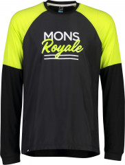 Mons Royale Tarn Freeride LS Wind Jersey - Black / sonic lime