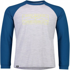 Mons Royale Icon Raglan LS - oily blue / grey marl