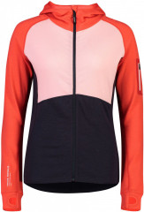 Mons Royale Ascend Midi Full Zip Hood - 9 iron / poppy / rosewater