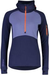 Mons Royale Ascend Midi Half Zip Hood - blue velvet