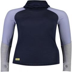 Mons Royale Bella Tech Flex Hood - navy / blue fog / grey marl